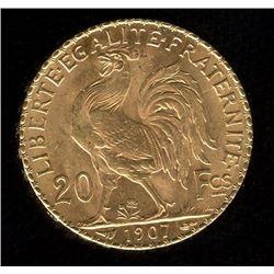 France 20 Francs Gold Coin, 1907