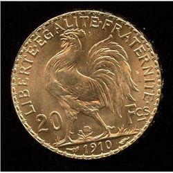 France 20 Francs Gold Coin, 1910