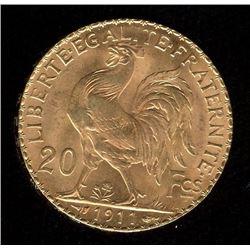 France 20 Francs Gold Coin, 1911