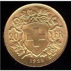 Switzerland 20 Francs Gold Coin, 1922