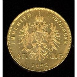 Hungary 10 Francs Gold Coin, 1892