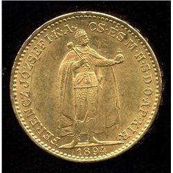 Hungary 20 Korona Gold Coin, 1894