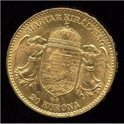 Hungary 20 Korona Gold Coin, 1903