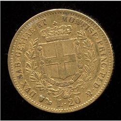 Italy 20 Lire Gold Coin, 1859
