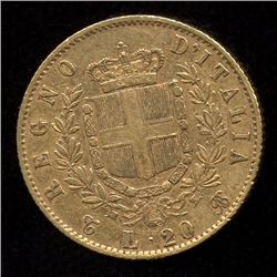 Italy 20 Lire Gold Coin, 1863