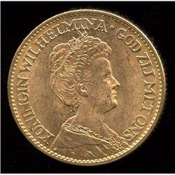 Netherlands 10 Gulden Gold Coin, 1911