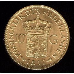 Netherlands 10 Gulden Gold Coin, 1917