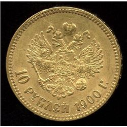 Russia 10 Rouble Gold Coin, 1900