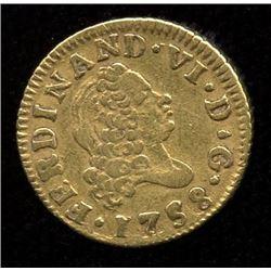 Spain Half Escudo Gold, 1758