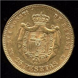 Spain 25 Pesetas Gold Coin, 1881