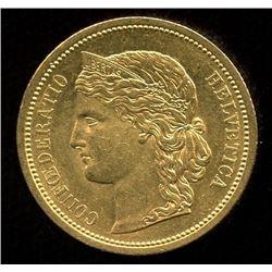 Switzerland 20 Francs Gold Coin, 1883