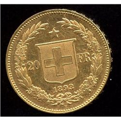 Switzerland 20 Francs Gold Coin, 1893B