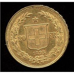 Switzerland 20 Francs Gold Coin, 1895B