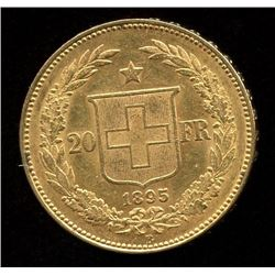 Switzerland 20 Francs Gold Coin, 1895B