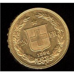 Switzerland 20 Francs Gold Coin, 1896B