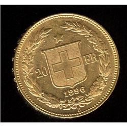 Switzerland 20 Francs Gold Coin, 1896B