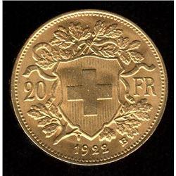 Switzerland 20 Francs Gold Coin, 1922B