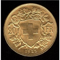 Switzerland 20 Francs Gold Coin, 1922B