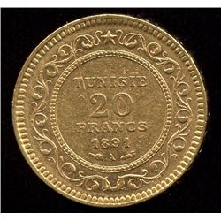 Tunisia 20 Francs Gold Coin, 1891A