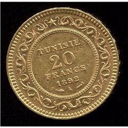 Tunisia 20 Francs Gold Coin, 1892A