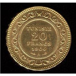 Tunisia 20 Francs Gold Coin, 1904A