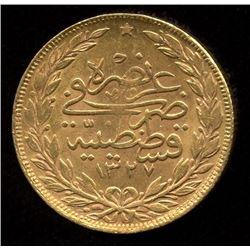 Turkey 100 Kurush Gold Coin, 1910