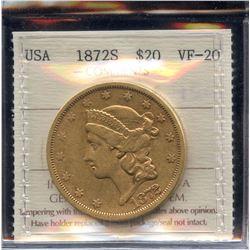 USA $20 Gold Coin, 1872S