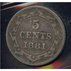 1881 Newfoundland Five Cents
