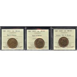 1911, 1915, 1920 Large One Cents - Lot of 3 ICCS Graded Coins