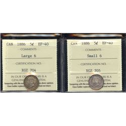 1886 Five Cents - Lot of 2