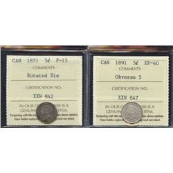 1871 & 1891 Five Cents - Lot of 2