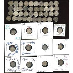 Silver Five Cents - Lot of 67 Coins
