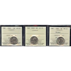 1922, 1923 & 1942 Five Cents - Lot of 3 ICCS Graded Coins