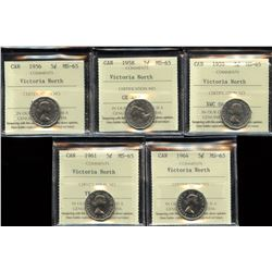 Victoria North Collection of 5 ICCS Graded Five Cents