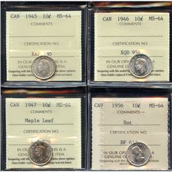 Ten Cents - Lot of 4 ICCS Graded Coins