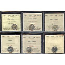 Ten Cents - Lot of 6 ICCS Graded Proof Like Coins