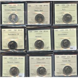 Twenty-Five Cents - Lot of 14 ICCS Graded Coins