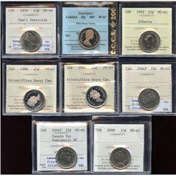 Lot of 8 ICCS/CCCS Graded Twenty-Five Cents