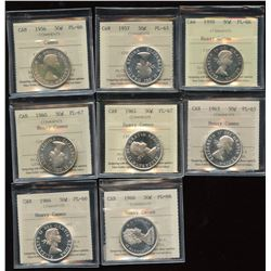 Proof Like Lot of 8 ICCS Graded Fifty Cents