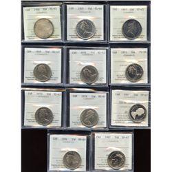 Lot of 11 ICCS Graded Fifty Cents