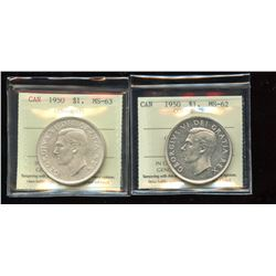 1950 Silver Dollar - Lot of 2 ICCS Graded Coins