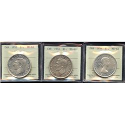 1951, 1952, 1954 Silver Dollars - Lot of 3 ICCS Graded Coins