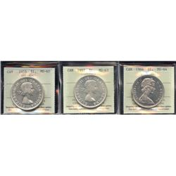 1955, 1957, 1966 Silver Dollars - Lot of 3 ICCS Graded Coins