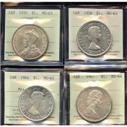 1935, 1958, 1964, 1967 ICCS Graded Silver Dollars