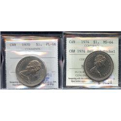 1970 & 1974 ICCS Graded Nickel Dollars