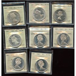Proof Like Lot of 8 ICCS Graded Silver Dollars