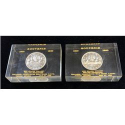 1910 - 1960 Souvenir Silver Dollar in Acrylic Holder - Lot of 2