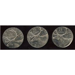 Error Coins - 1986 Twenty-Five Cents on 10c Planchets - Lot of 3