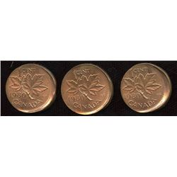 Error Coins - 1980 Broadstruck One Cents - Lot of 3
