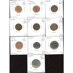 Royal Canadian Mint, Blank Planchets for Various Denominations. Lot of 10